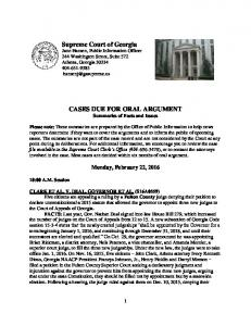 CASES DUE FOR ORAL ARGUMENT