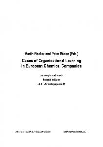 Cases of Organisational Learning in European Chemical Companies An empirical study Second edition ITB - Arbeitspapiere 35