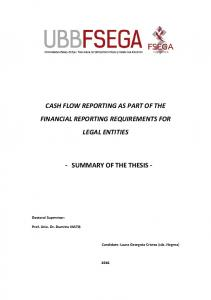 CASH FLOW REPORTING AS PART OF THE FINANCIAL REPORTING REQUIREMENTS FOR LEGAL ENTITIES