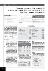 Casos de nuevas aplicaciones de la Cuenta 52 Capital Adicional del Nuevo Plan Contable General Empresarial