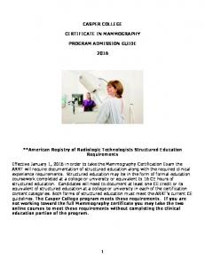 CASPER COLLEGE CERTIFICATE IN MAMMOGRAPHY PROGRAM ADMISSION GUIDE