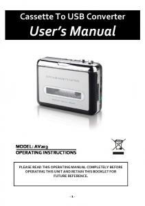 Cassette To USB Converter. User s Manual