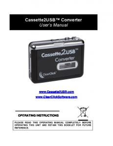 Cassette2USB Converter User s Manual