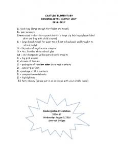 CASTLIO ELEMENTARY KINDERGARTEN SUPPLY LIST