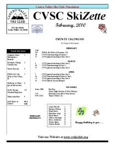 Castro Valley Ski Club Newsletter