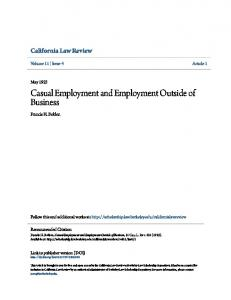 Casual Employment and Employment Outside of Business