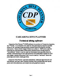 CASUARINA DIVE PLANNER Technical-diving software