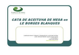 CATA DE ACEITUNA DE MESA en LE BORGES BLANQUES