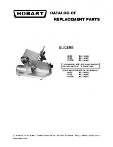 CATALOG OF REPLACEMENT PARTS