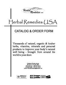 CATALOG & ORDER FORM