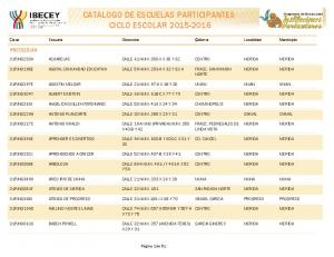CATALOGO DE ESCUELAS PARTICIPANTES CICLO ESCOLAR