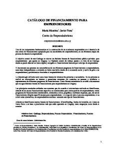 CATÁLOGO DE FINANCIAMIENTO PARA EMPRENDEDORES
