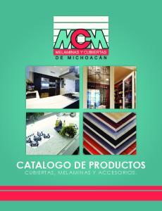 CATALOGO DE PRODUCTOS CUBIERTAS, MELAMINAS Y ACCESORIOS