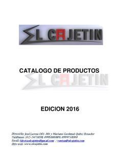 CATALOGO DE PRODUCTOS EDICION 2016