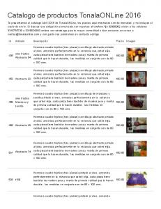 Catalogo de productos TonalaONLine 2016