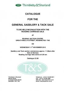 CATALOGUE FOR THE GENERAL SADDLERY & TACK SALE
