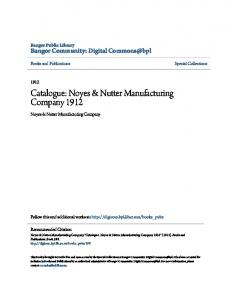 Catalogue: Noyes & Nutter Manufacturing Company 1912