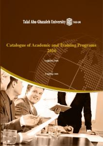 Catalogue of Academic and Training Programs 2016
