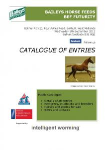 CATALOGUE OF ENTRIES