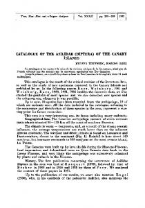 CATALOGUE OF THE ASILIDAE (DIPTERA) OF THE CANARY ISLANDS