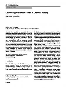 Catalytic Applications of Zeolites in Chemical Industry