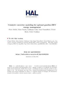 Catalytic converter modeling for optimal gasoline-hev energy management