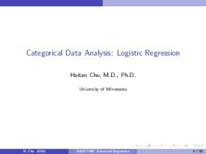 Categorical Data Analysis: Logistic Regression