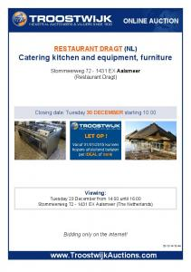 Catering kitchen and equipment, furniture
