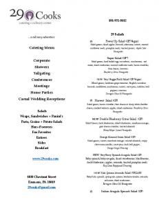 Catering Menu. Corporate Showers Tailgating Conferences Meetings Home Parties Casual Wedding Receptions Salads