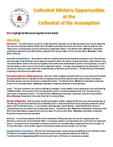 Cathedral Ministry Opportunities at the Cathedral of the Assumption