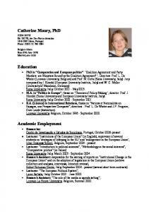 Catherine Moury, PhD. Education. Academic Employment