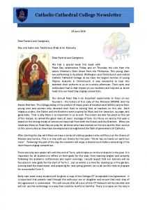 Catholic Cathedral College Newsletter