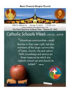 Catholic Schools Week JAN 25 JAN 31