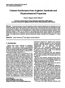 Cationic Surfactants from Arginine: Synthesis and Physicochemical Properties