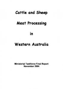 Cattle and Sheep. Meat Processing. Western Australia