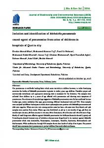 causal-agent of pneumoniae from urine of childrens in