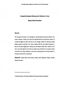 Causality between Money and Inflation in Iran