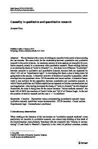 Causality in qualitative and quantitative research