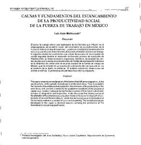 CAUSAS Y FUNDAMENTOS DEL ESTANCAMIENTO DE LA PRODUCTIVIDAD SOCIAL DE LA FUERZA DE TRABAJO EN MEXICO