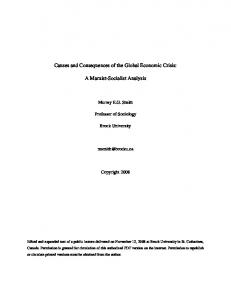 Causes and Consequences of the Global Economic Crisis: A Marxist-Socialist Analysis