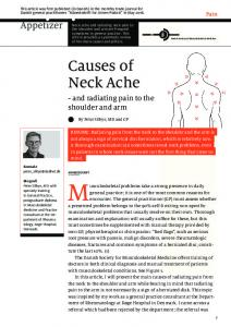Causes of Neck Ache. - and radiating pain to the shoulder and arm. Pain