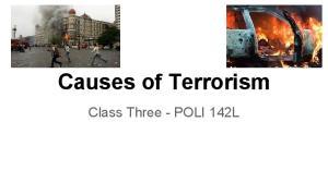 Causes of Terrorism. Class Three - POLI 142L