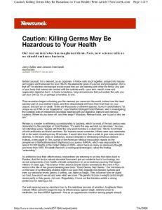 Caution: Killing Germs May Be Hazardous to Your Health