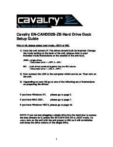Cavalry EN-CAHDD2B-ZB Hard Drive Dock Setup Guide
