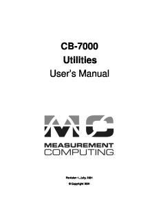 CB-7000 Utilities User s Manual