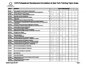 CCEI Professional Development Correlation to New York Training Topic Areas