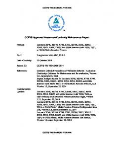 CCEVS Approved Assurance Continuity Maintenance Report