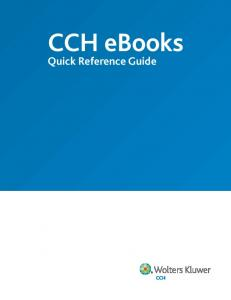 CCH ebooks. Quick Reference Guide