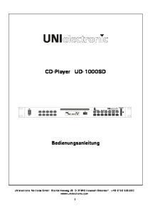 CD-Player UD-1000SD Bedienungsanleitung