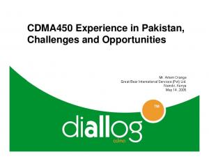 CDMA450 Experience in Pakistan, Challenges and Opportunities